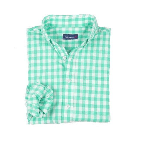 men's button down - gingham spring bud