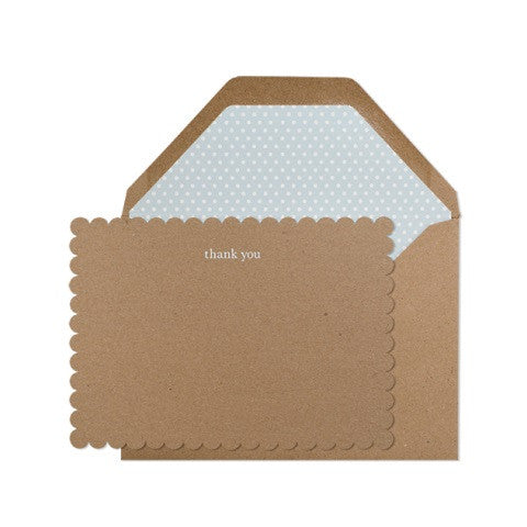 kraft scalloped thank you - set
