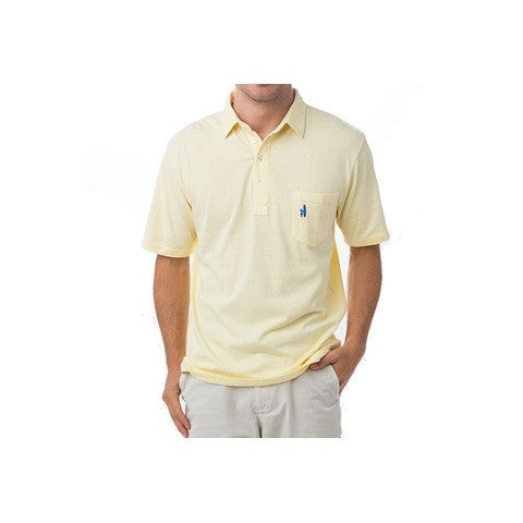 men's 4 button polo - lemon