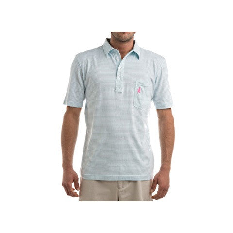 men's 4 button striped polo - light blue