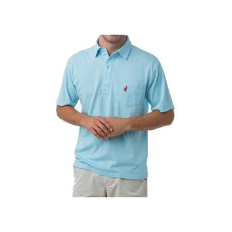 men's 4 button polo - light blue