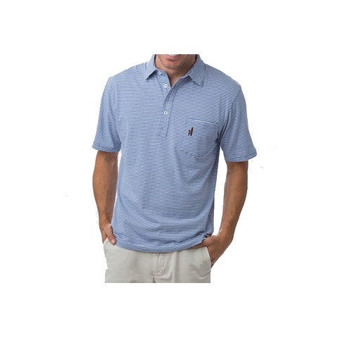 men's 4 button striped polo - misty