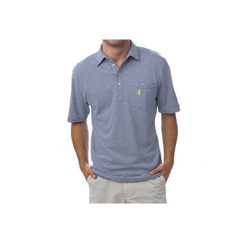 men's 4 button striped polo - pacific blue
