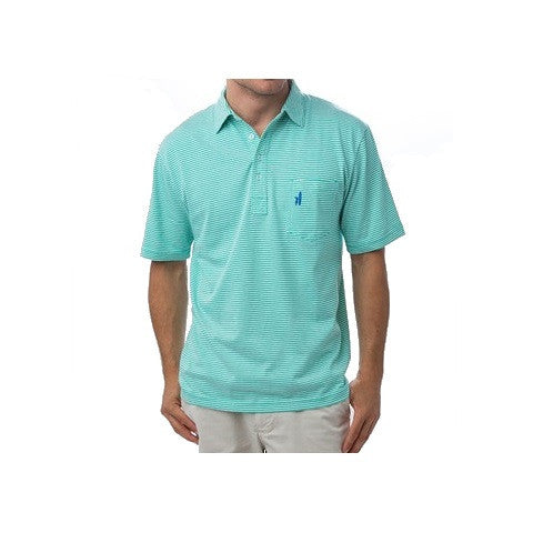 men's 4 button striped polo - spearmint