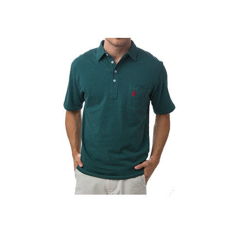 men's 4 button dual striped polo - spruce & navy