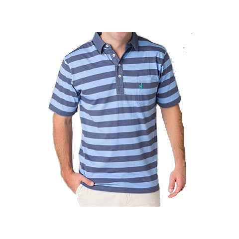 men's 4 button rugby polo - pacific & vista blue