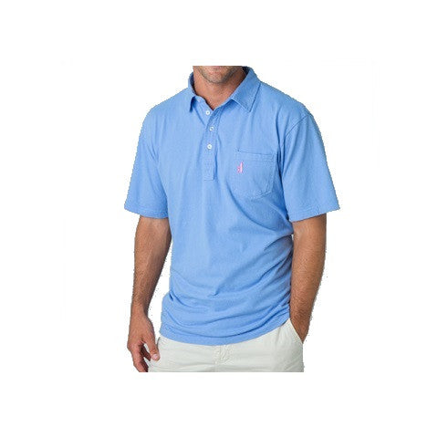 men's 4 button polo - vista blue