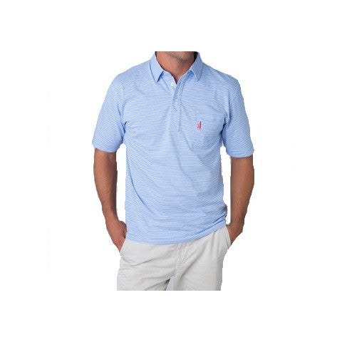 men's 4 button striped polo - vista blue