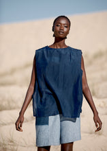 Load image into Gallery viewer, Minimalist shorts with natural indigo pocket dip, made in Sydney, Australia.