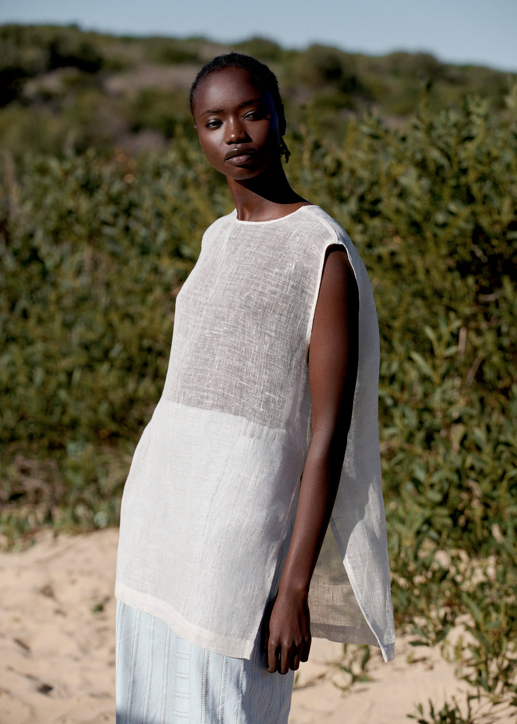 Minimal sleeveless top made from a linen in natural colour, made in Sydney, Australia.