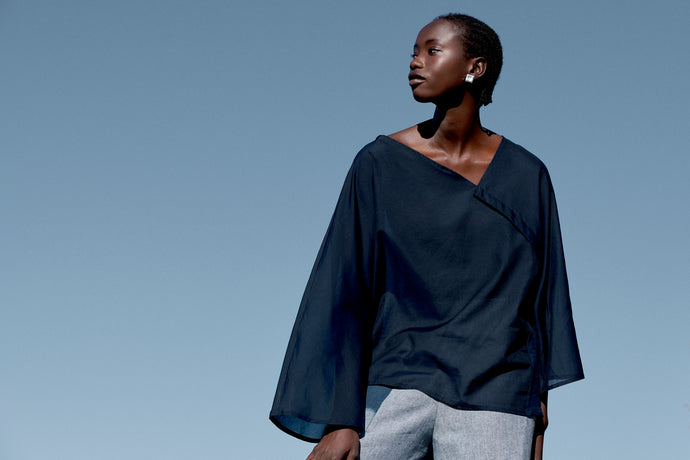 Deadstock Silk/Cotton draped from shapes, loose and flowy top, made in Sydney, Australia.