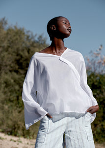 Silk/Cotton draped from shapes, loose and flowy top, made in Sydney, Australia.