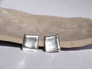 Solid sterling silver Square Earrings, made our studio Sydney, Australia.