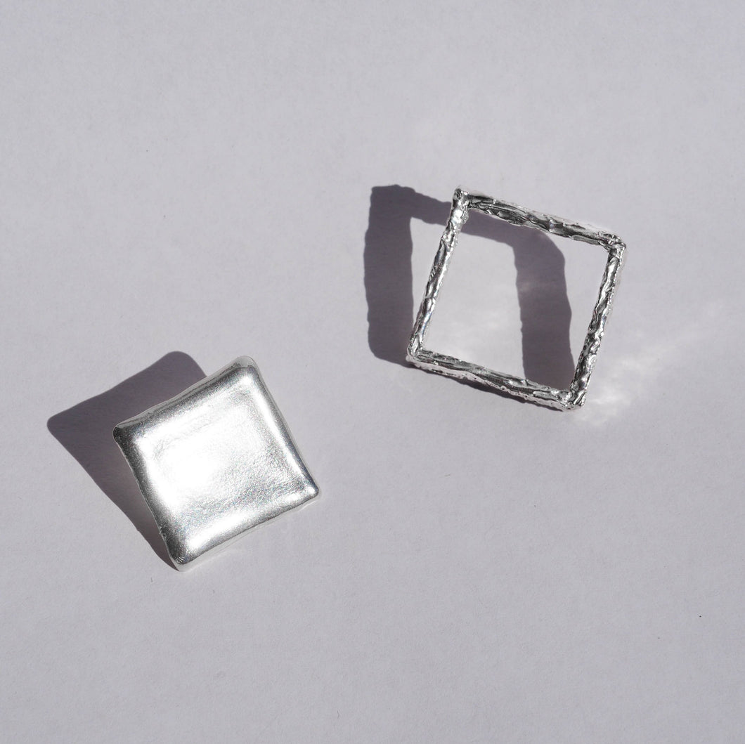 Solid sterling silver Shape and Shadow earrings, made our studio Sydney, Australia.
