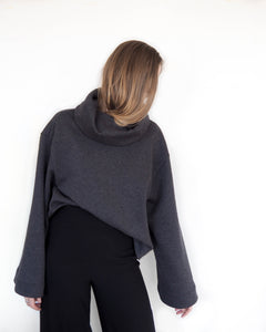 AURA Studios. EDGE Jumper with drape collar. 100% Cotton.