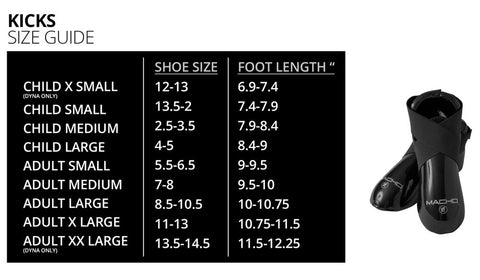 Macho Foot Pads Size Guide