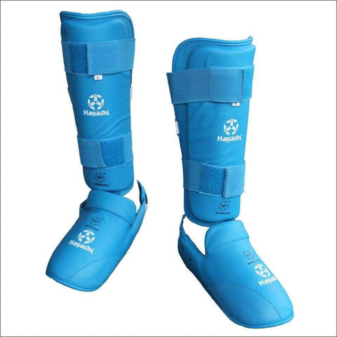 Hayashi WKF Approved Karate Shin/Instep Guard Blue | Shin Guards | Fight Co