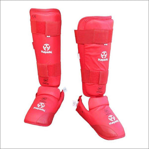 Hayashi WKF Approved Karate Shin/Instep Guard Red - Fight Co