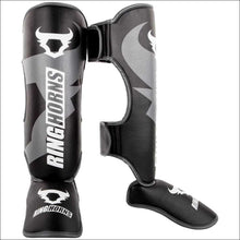 Load image into Gallery viewer, Ringhorns Charger Shin/Instep Guards Black/White - Fight Co
