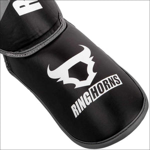 Ringhorns Charger Shin/Instep Guards Black/White | Shin Guards | Fight Co