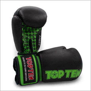 Top Ten Fight Boxing Gloves Black/Green | Boxing Gloves | Fight Co