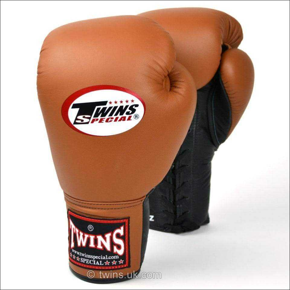 Twins Special Lace Up Sparring Gloves - Brown Black - Lace Up Boxing Gloves