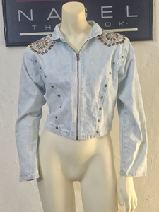 vintage RIO INC studded acid wash denim jacket