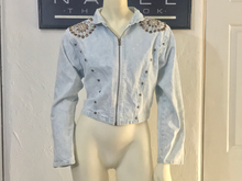Load image into Gallery viewer, vintage RIO INC studded acid wash denim jacket