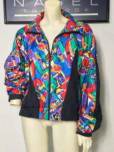 vintage LILY'S OF BEVERLY HILLS colorful windbreaker jacket