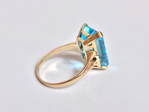 antique 14k gold aquamarine art deco estate ring