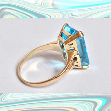 Load image into Gallery viewer, antique 14k gold aquamarine art deco estate ring