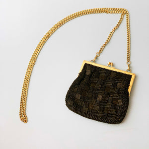 black and gold beaded kiss lock evening bag