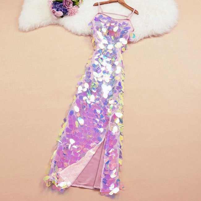 pretty disco iridescent maxi sheath dress