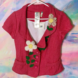 deadstock hot pink daisies short sleeve blazer jacket