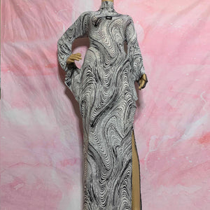 vtg psychedellic swirl structured gown