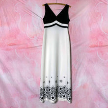 Load image into Gallery viewer, vtg b & w floral embroidery maxi dress