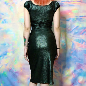 metallic oil slick pin up dress