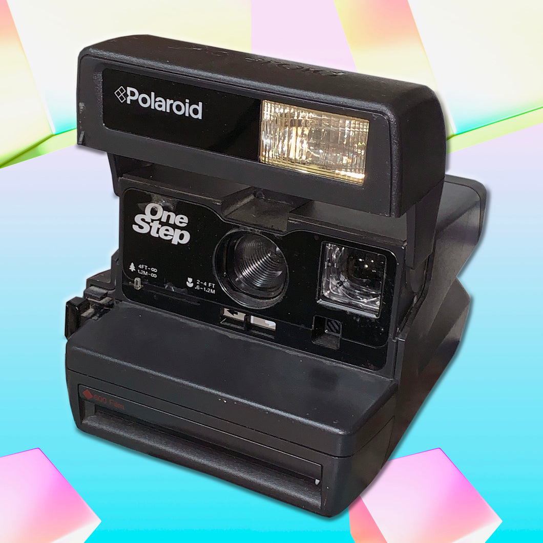 vintage polaroid one step 600 camera (black)
