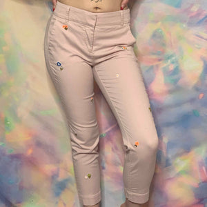 pink floral embroidery cropped chino pants