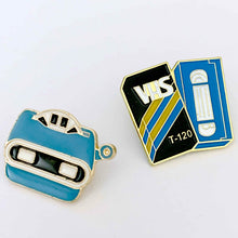 Load image into Gallery viewer, VHS & 3D VIEWER retro enamel pin set