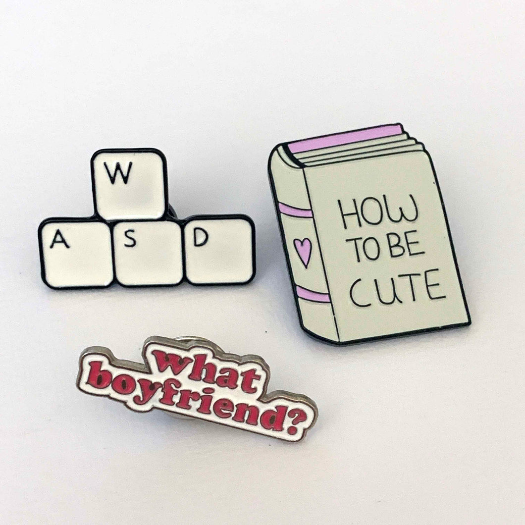 HOW TO BE CUTE retro enamel pin set