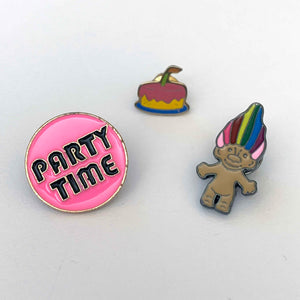 PARTY TROLL retro enamel pin set