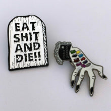 Load image into Gallery viewer, EAT SHIT & DIE!! retro enamel pin set