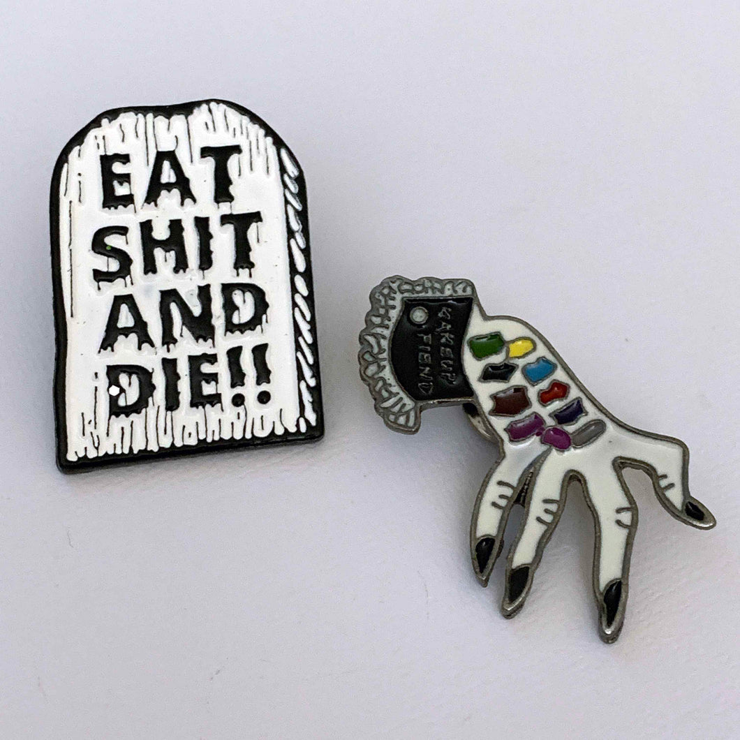 EAT SHIT & DIE!! retro enamel pin set