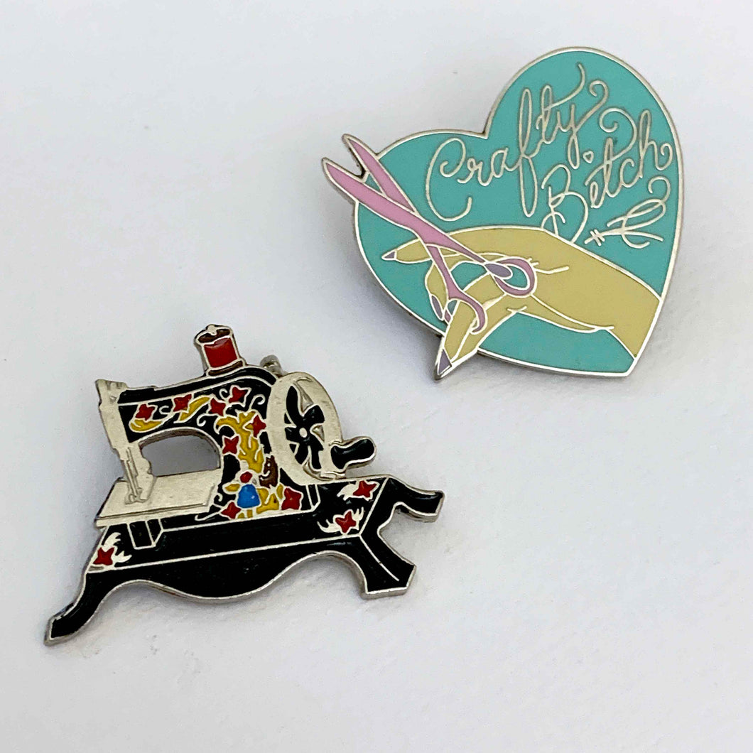 CRAFTY BITCH enamel pin set