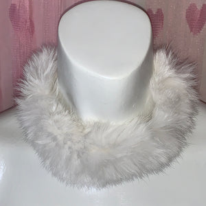 SNOW KITTEN LUXE white faux fur choker