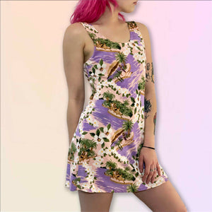 lilac & peach tropical hawaiian mini dress