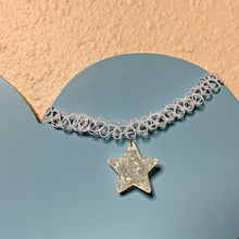 Load image into Gallery viewer, iridescent SNOW STAR opaque white tattoo choker