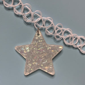 iridescent SNOW STAR opaque white tattoo choker