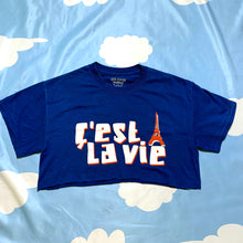 Load image into Gallery viewer, reworked vintage C'EST LA VIE babydoll crop top